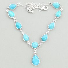 32.10cts natural blue larimar 925 sterling silver necklace jewelry t19492