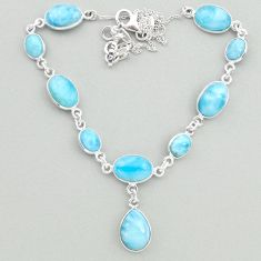 33.10cts natural blue larimar 925 sterling silver necklace jewelry t19493