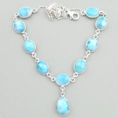 31.28cts natural blue larimar 925 sterling silver necklace jewelry t19495