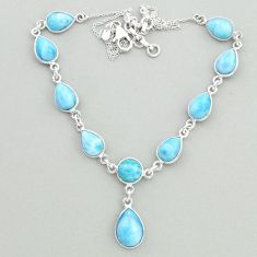 32.51cts natural blue larimar 925 sterling silver necklace jewelry t19496