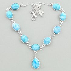 36.77cts natural blue larimar 925 sterling silver necklace jewelry t19499