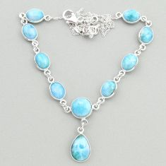 28.76cts natural blue larimar 925 sterling silver necklace jewelry t19821