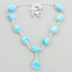 37.42cts natural blue larimar 925 sterling silver necklace jewelry t19823