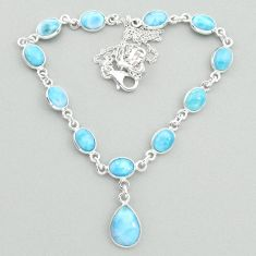 22.07cts natural blue larimar 925 sterling silver necklace jewelry t19825