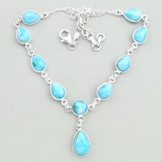 31.28cts natural blue larimar 925 sterling silver necklace jewelry t19827