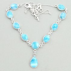 23.36cts natural blue larimar 925 sterling silver necklace jewelry t19829