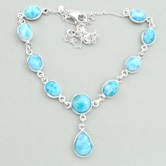 26.47cts natural blue larimar 925 sterling silver necklace jewelry t19830