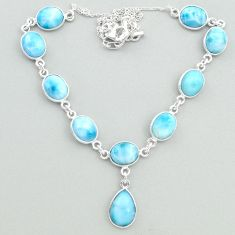 34.48cts natural blue larimar 925 sterling silver necklace jewelry t19832