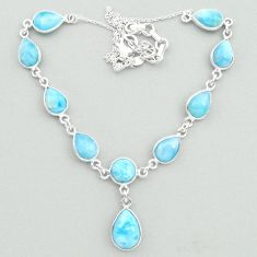 29.85cts natural blue larimar 925 sterling silver necklace jewelry t19833