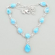 28.76cts natural blue larimar 925 sterling silver necklace jewelry t19835