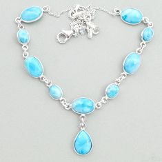 32.48cts natural blue larimar 925 sterling silver necklace jewelry t19836