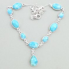 33.10cts natural blue larimar 925 sterling silver necklace jewelry t19838