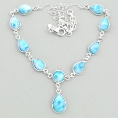 29.78cts natural blue larimar 925 sterling silver necklace jewelry t19840
