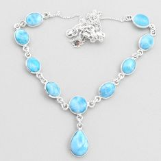 28.76cts natural blue larimar 925 sterling silver necklace jewelry t48691