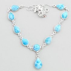 30.40cts natural blue larimar 925 sterling silver necklace jewelry t48693