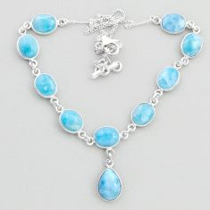 37.13cts natural blue larimar 925 sterling silver necklace jewelry t48696