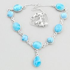 32.45cts natural blue larimar 925 sterling silver necklace jewelry t48697