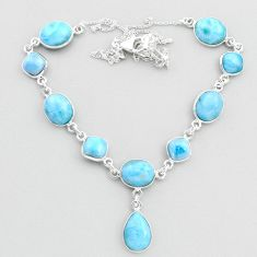 36.86cts natural blue larimar 925 sterling silver necklace jewelry t48699