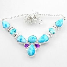 37.79cts natural blue larimar amethyst 925 sterling silver necklace r52268