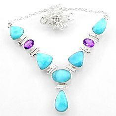 30.65cts natural blue larimar amethyst 925 sterling silver necklace r52281