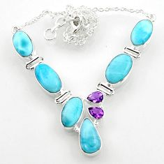 29.22cts natural blue larimar amethyst 925 sterling silver necklace r52283
