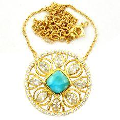 Natural blue larimar topaz 925 sterling silver 14k gold necklace c17237
