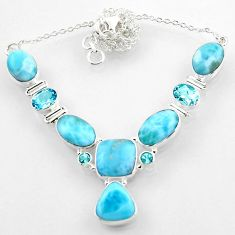 39.63cts natural blue larimar topaz 925 sterling silver necklace jewelry r52262