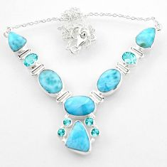 41.10cts natural blue larimar topaz 925 sterling silver necklace jewelry r52272