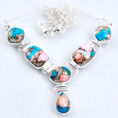 29.41cts natural blue opal in turquoise 925 sterling silver necklace r56061