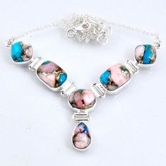 30.52cts natural blue opal in turquoise 925 sterling silver necklace r56062