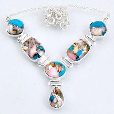 30.11cts natural blue opal in turquoise 925 sterling silver necklace r56063