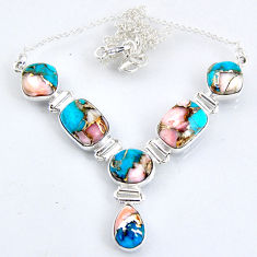28.99cts natural blue opal in turquoise 925 sterling silver necklace r56065