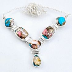 28.29cts natural blue opal in turquoise 925 sterling silver necklace r56067