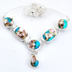 30.19cts natural blue opal in turquoise 925 sterling silver necklace r56070