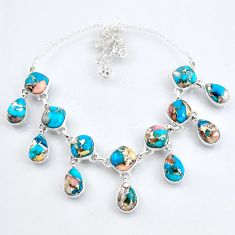 65.68cts natural blue opal in turquoise 925 sterling silver necklace r56117