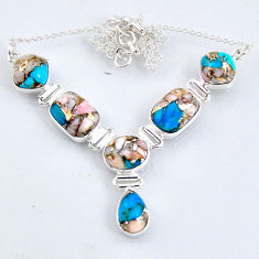 29.30cts natural blue opal in turquoise oval 925 sterling silver necklace r56066