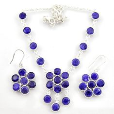 56.78cts natural blue sapphire 925 sterling silver earrings necklace set d45858