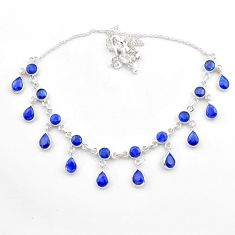 22.62cts natural blue sapphire 925 sterling silver necklace jewelry t40600