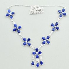 26.19cts natural blue sapphire 925 sterling silver necklace jewelry t50324