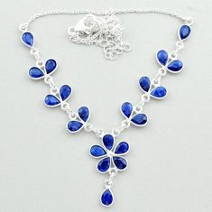 19.66cts natural blue sapphire 925 sterling silver necklace jewelry t50370