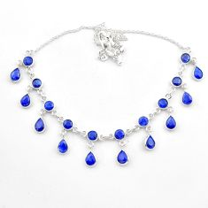 22.53cts natural blue sapphire pear 925 sterling silver necklace jewelry t40599