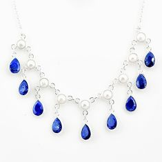 24.24cts natural blue sapphire pear pearl 925 sterling silver necklace r77392