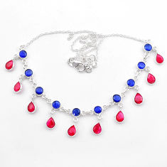 23.43cts natural blue sapphire red ruby 925 sterling silver necklace t40588