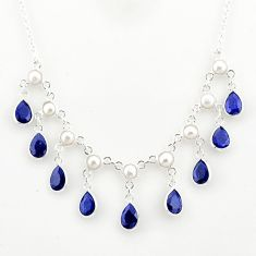 24.62cts natural blue sapphire white pearl 925 sterling silver necklace r77416