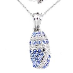 Natural blue tanzanite 925 sterling silver necklace jewelry c20513