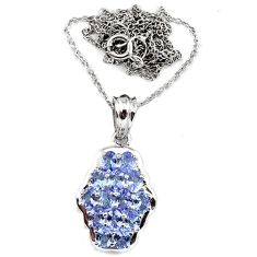 Natural blue tanzanite oval shape 925 sterling silver necklace pendant c25948