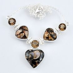 47.23cts natural brown mushroom rhyolite smoky topaz 925 silver necklace r58702