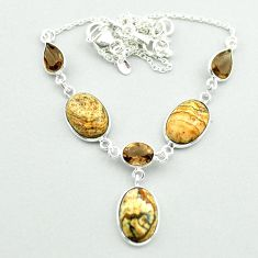 21.31cts natural brown picture jasper smoky topaz 925 silver necklace t54917