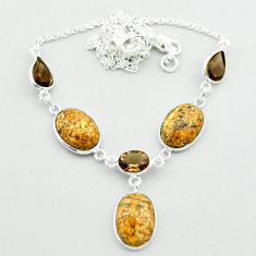 23.26cts natural brown picture jasper smoky topaz 925 silver necklace t54919