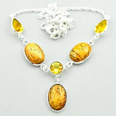 22.29cts natural brown picture jasper yellow citrine 925 silver necklace t54911